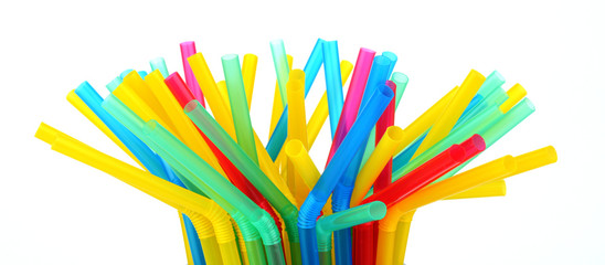 Photo of drink straws in glass white background