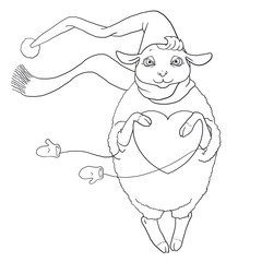 The contour for coloring of Sheep in the winter suit with heart