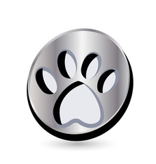 Dog footprint logo button vector