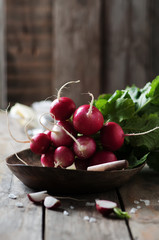 Fresh radish and salt on the wooden table
