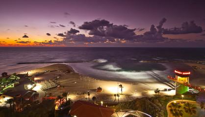 Twilight on mediterranean sea, Israel, Natanya.