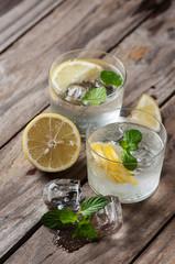 Lemonade with fresh lemon and mint