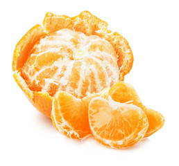 juicy tangerines isolated on the white background