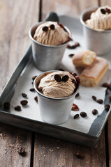 Ice cream with coffee and biscuits