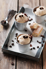 Ice cream with coffee and biscuits, selective focus