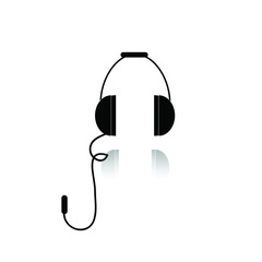 Black Computer Headphones with Shadow on the White Background