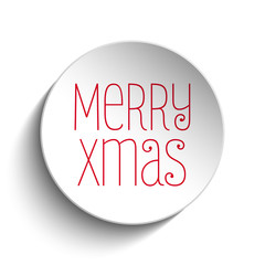 Merry Christmas Icon Button Red