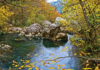 Chernaja (Black) River in Crimean mountains. Sevastopol region.