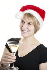 Mädchen amüsiert sich auf der Weihnachtsfeier