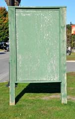 Empty green wooden board