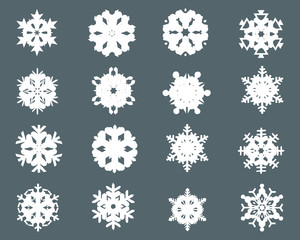 Collection of different snowflakes icon 2, vector shape