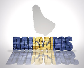 Word Barbados on a map background