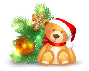 Cute teddy bear sitting near a Christmas Fir tree