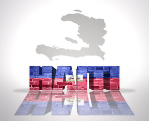Word Haiti on a map background