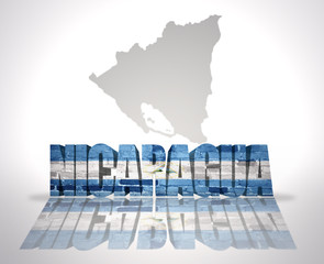 Word Nicaragua on a map background