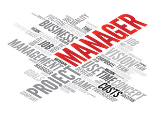 MANAGER business concept in word tag cloud, vector background