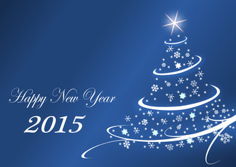 2015 new years vector illustration with christmas tree