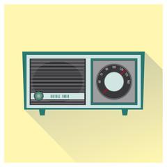 Vintage radio blue color.