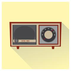 Vintage radio vector. Red color.