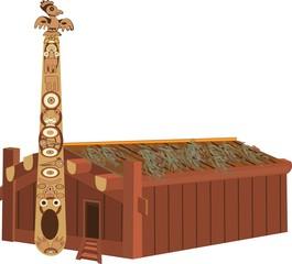 Indian wooden hut