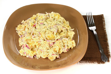 Gourmet Potatoes onion salad and mayonnaise