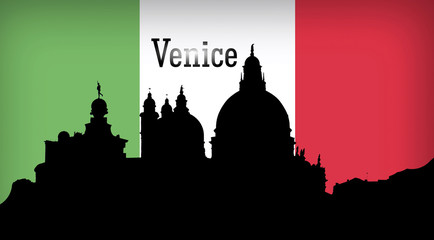 Venice, Italy,  silhouette illustration design