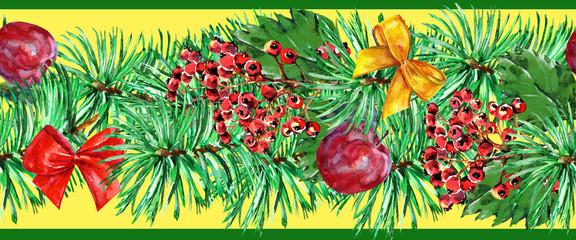 New Year garland, watercolor