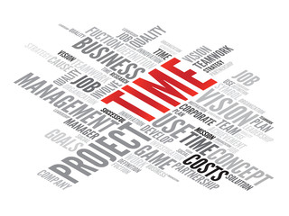 TIME business concept in word tag cloud, vector background
