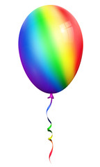 single rainbow balloon