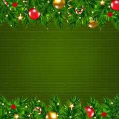 Dark Green Retro Card With Fir Tree