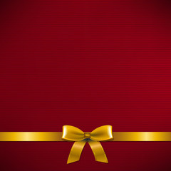 Dark Red Card With Golden Ribbon