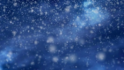 Snow falling heavily on a blue night dark sky