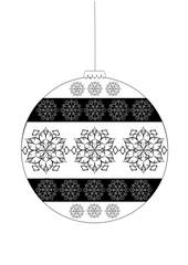 Черно-белый елочный шар со снежинками на белом фоне