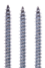 Several aligned iron screws isolated on a white background.