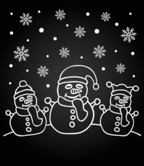 New Year chalkboard card with the family of snowmen