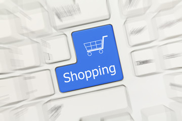 White conceptual keyboard - Shopping (blue key). Zoom effect