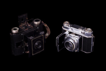 two retro vintage photographic cameras