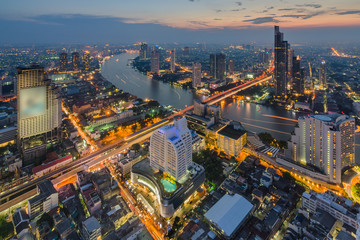Bangkok cityscape from top view at night