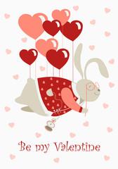 Valentine rabbit flying on heart shaped baloons