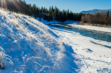 Tyulyuk River in the Ural Mountains in winter