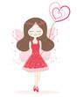 Obrazy na płótnie, fototapety, zdjęcia, fotoobrazy drukowane : Cute red fairy girl vector