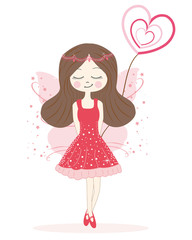 Cute red fairy girl vector