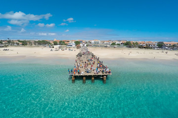 Aerial view of Santa Maria beach in Sal Cape Verde - Cabo Verde