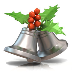 Silver Christmas bells with holly berries, 3D render