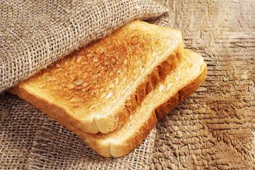Toast bread in burlap