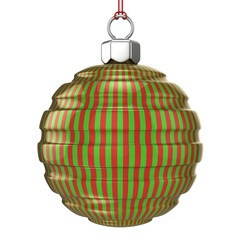 Red and green striped Christmas ball isolated on white