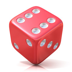 Red game dice isolated on white background