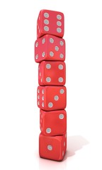 Six standing, red game dices, isolated on white background
