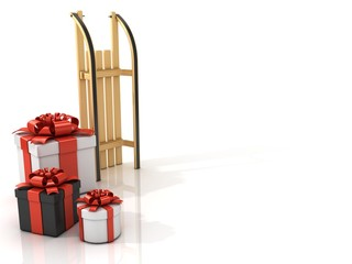 Standing, wooden sledge with Christmas presents, 3D render