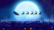 Santa flies over moon and woke up the village